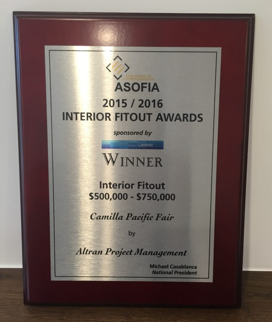 ASOFIA Awards, quality fitout, superior flooring solutions, Master flooring solutions, Twin Towns Services club fitout